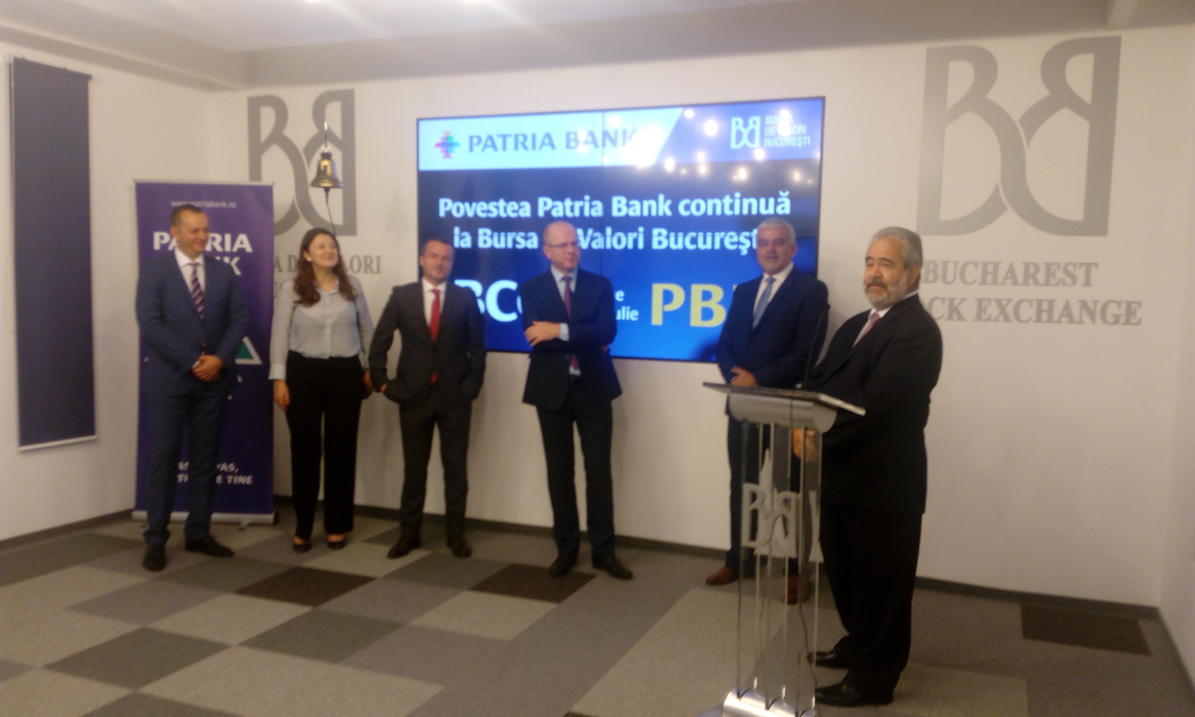 Patria Bank vizează dublarea cotei de piață în 4-5 ani. De astăzi, acțiunile instituției de credit sunt tranzacționate pe Bursă sub simbolul PBK