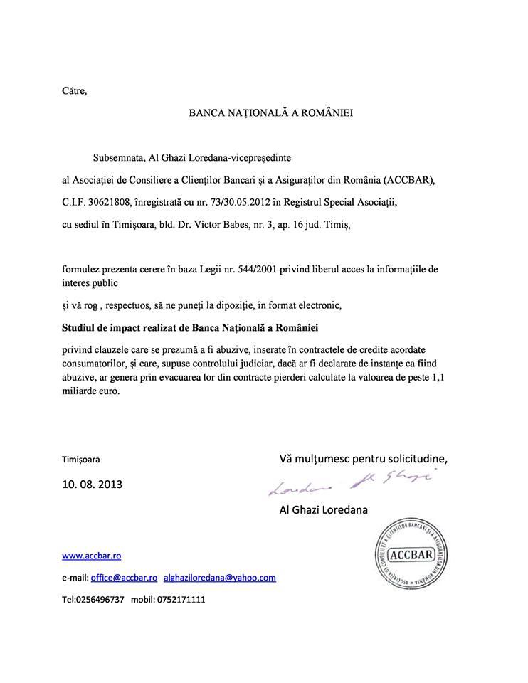 BNR a mintit: Studiul privind impactul clauzelor abuzive nu exista