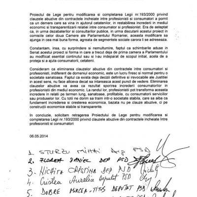 PSD si UNPR nu mai sustin proiectul de modificare a legii clauzelor abuzive