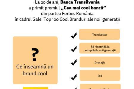 """Banca Transilvania a primit premiul """"Cel mai cool brand din domeniul financiar"""" din partea revistei Forbes Romania"""