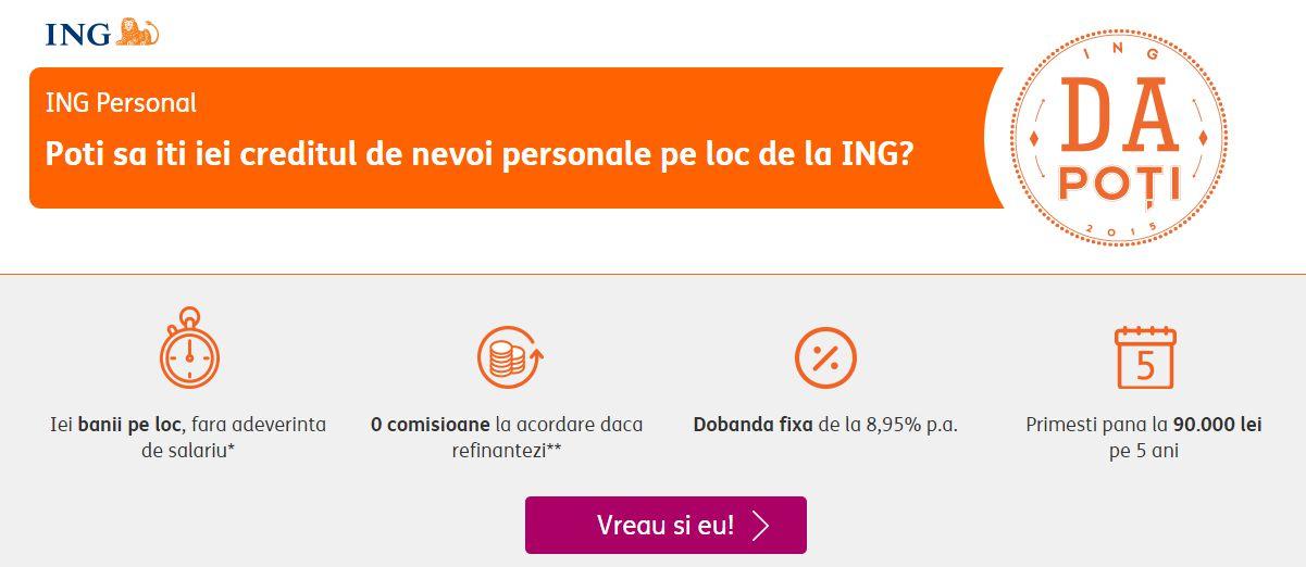 ING Bank a lansat creditul de nevoi personale acordat pe loc