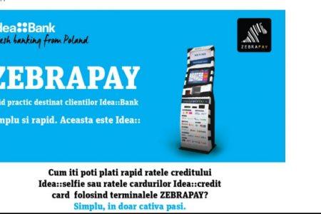 Premiera: Clientii Idea Bank isi pot achita ratele creditelor prin terminalele ZebraPay