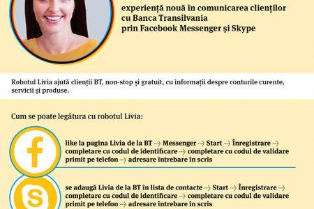 Banca Transilvania lansează un nou canal de interacțiune cu clienții, prin Facebook Messenger şi Skype: Robotul Livia