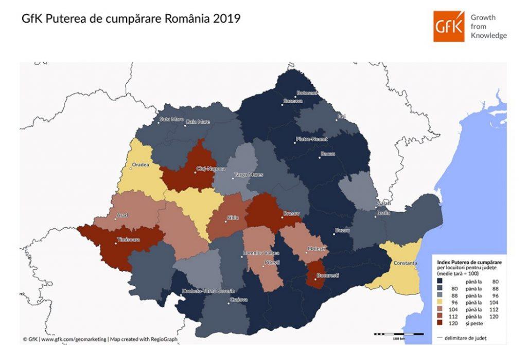 Puterea de cumpărare a europenilor este de 14.739 de euro de persoană în 2019, a românilor de 5.881 euro. TOP 10 județe din România