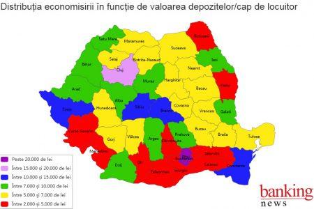 Harta economisirii în România. Depozitele populației din București + Ilfov valorează cât banii puși deoparte de locuitorii din 30 de județe la un loc