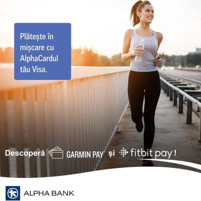 Alpha Bank lansează soluțiile de plată Garmin Pay și Fitbit Pay