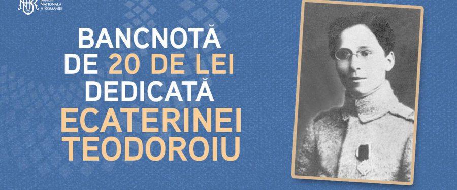 FOTO. După 71 de ani, România va avea din nou o bancotă de 20 de lei cu chipul unei femei. Din toamnă, BNR va pune în circulație bancnota cu Ecaterina Teodoroiu